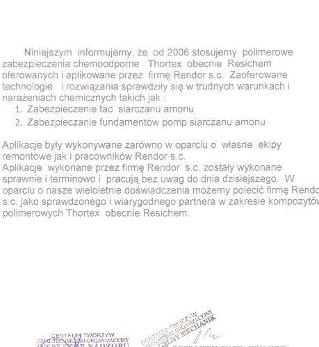 Azoty Tarnow Zabezpieczenie siarczan amonu